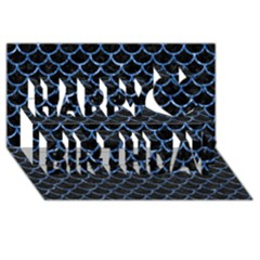 Scales1 Black Marble & Blue Marble (r) Happy Birthday 3d Greeting Card (8x4) by trendistuff