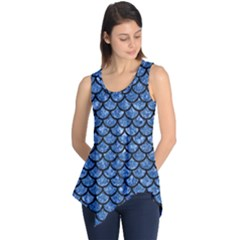 Scales1 Black Marble & Blue Marble Sleeveless Tunic