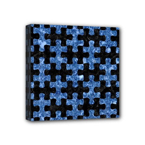 Puzzle1 Black Marble & Blue Marble Mini Canvas 4  X 4  (stretched) by trendistuff