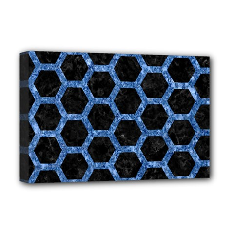 Hexagon2 Black Marble & Blue Marble (r) Deluxe Canvas 18  X 12  (stretched) by trendistuff