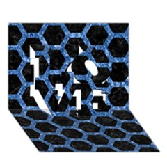 Hexagon2 Black Marble & Blue Marble (r) Love 3d Greeting Card (7x5)