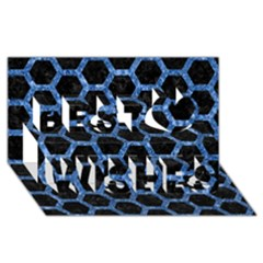 Hexagon2 Black Marble & Blue Marble (r) Best Wish 3d Greeting Card (8x4)
