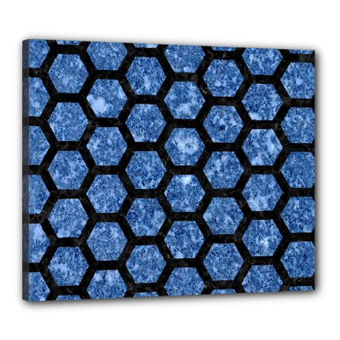 Hexagon2 Black Marble & Blue Marble Canvas 24  X 20  (stretched) by trendistuff