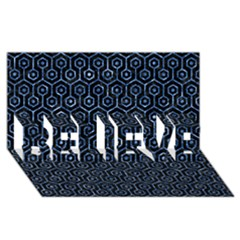 Hexagon1 Black Marble & Blue Marble (r) Believe 3d Greeting Card (8x4)