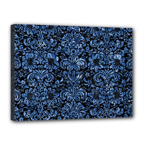 Damask2 Black Marble & Blue Marble (r) Canvas 16  X 12  (stretched) by trendistuff