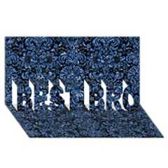 Damask2 Black Marble & Blue Marble (r) Best Bro 3d Greeting Card (8x4)