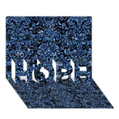 Damask2 Black Marble & Blue Marble (r) Hope 3d Greeting Card (7x5)