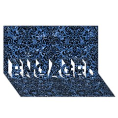 Damask2 Black Marble & Blue Marble Engaged 3d Greeting Card (8x4)
