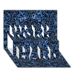 Damask2 Black Marble & Blue Marble Work Hard 3d Greeting Card (7x5)