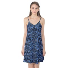 Damask2 Black Marble & Blue Marble Camis Nightgown