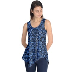 Damask2 Black Marble & Blue Marble Sleeveless Tunic