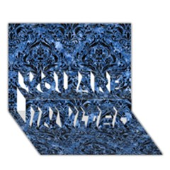 Damask1 Black Marble & Blue Marble (r) You Are Invited 3d Greeting Card (7x5)