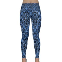 Damask1 Black Marble & Blue Marble (r) Classic Yoga Leggings by trendistuff