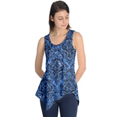 Damask1 Black Marble & Blue Marble (r) Sleeveless Tunic