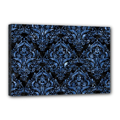 Damask1 Black Marble & Blue Marble Canvas 18  X 12  (stretched) by trendistuff