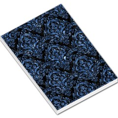 Damask1 Black Marble & Blue Marble Large Memo Pads by trendistuff