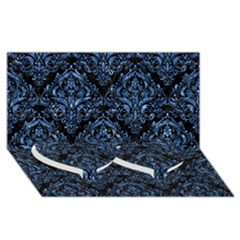 Damask1 Black Marble & Blue Marble Twin Heart Bottom 3d Greeting Card (8x4) by trendistuff