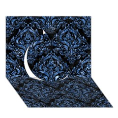 Damask1 Black Marble & Blue Marble Circle 3d Greeting Card (7x5) by trendistuff