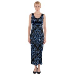 Damask1 Black Marble & Blue Marble Fitted Maxi Dress
