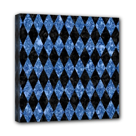Diamond1 Black Marble & Blue Marble Mini Canvas 8  X 8  (stretched) by trendistuff