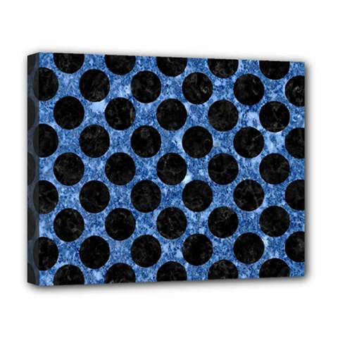 Circles2 Black Marble & Blue Marble Deluxe Canvas 20  X 16  (stretched) by trendistuff