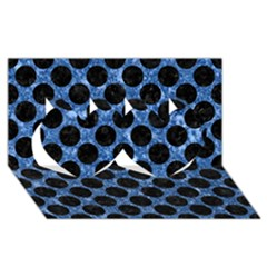 Circles2 Black Marble & Blue Marble Twin Hearts 3d Greeting Card (8x4)