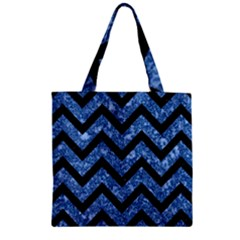 Chevron9 Black Marble & Blue Marble (r) Zipper Grocery Tote Bag by trendistuff