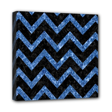 Chevron9 Black Marble & Blue Marble Mini Canvas 8  X 8  (stretched) by trendistuff