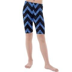 Chevron9 Black Marble & Blue Marble Kids  Mid Length Swim Shorts by trendistuff