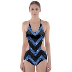 Chevron9 Black Marble & Blue Marble Cut Out One Piece Swimsuit