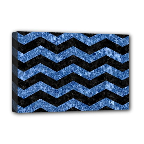 Chevron3 Black Marble & Blue Marble Deluxe Canvas 18  X 12  (stretched) by trendistuff