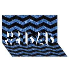 Chevron3 Black Marble & Blue Marble #1 Dad 3d Greeting Card (8x4)