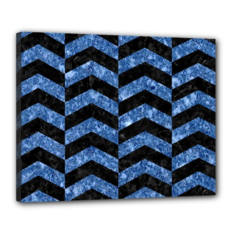 Chevron2 Black Marble & Blue Marble Canvas 20  X 16  (stretched) by trendistuff