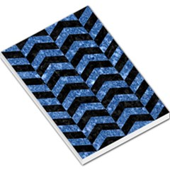 Chevron2 Black Marble & Blue Marble Large Memo Pads by trendistuff