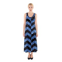 Chevron2 Black Marble & Blue Marble Sleeveless Maxi Dress