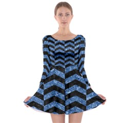 Chevron2 Black Marble & Blue Marble Long Sleeve Skater Dress