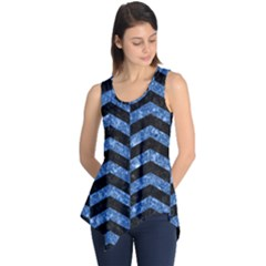 Chevron2 Black Marble & Blue Marble Sleeveless Tunic