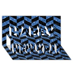 Chevron1 Black Marble & Blue Marble Happy New Year 3d Greeting Card (8x4)