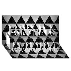 Triangle3 Black Marble & Silver Brushed Metal Congrats Graduate 3d Greeting Card (8x4)