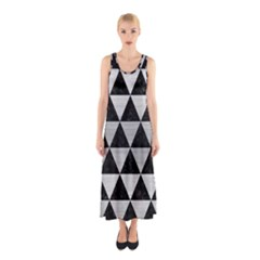 Triangle3 Black Marble & Silver Brushed Metal Sleeveless Maxi Dress