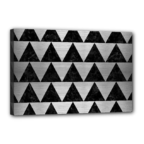 Triangle2 Black Marble & Silver Brushed Metal Canvas 18  X 12  (stretched) by trendistuff
