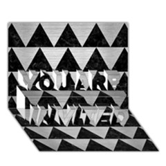 Triangle2 Black Marble & Silver Brushed Metal You Are Invited 3d Greeting Card (7x5) by trendistuff