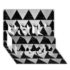Triangle2 Black Marble & Silver Brushed Metal You Rock 3d Greeting Card (7x5) by trendistuff