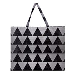 Triangle2 Black Marble & Silver Brushed Metal Zipper Large Tote Bag by trendistuff