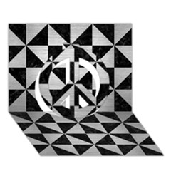 Triangle1 Black Marble & Silver Brushed Metal Peace Sign 3d Greeting Card (7x5)