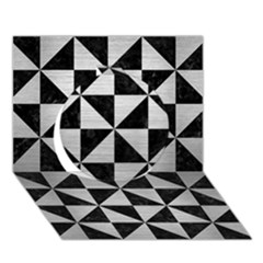 Triangle1 Black Marble & Silver Brushed Metal Circle 3d Greeting Card (7x5) by trendistuff