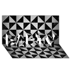 Triangle1 Black Marble & Silver Brushed Metal Party 3d Greeting Card (8x4) by trendistuff