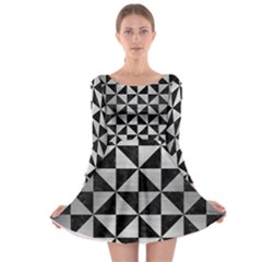 Triangle1 Black Marble & Silver Brushed Metal Long Sleeve Skater Dress