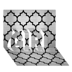 Tile1 Black Marble & Silver Brushed Metal (r) Girl 3d Greeting Card (7x5)