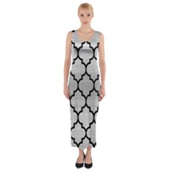 Tile1 Black Marble & Silver Brushed Metal (r) Fitted Maxi Dress